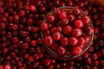 cranberries in a clear bowl