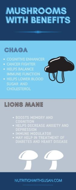 BLUE AND GRAY INFOGRAPHIC ON MUSHROOMS WITH BENEFITS